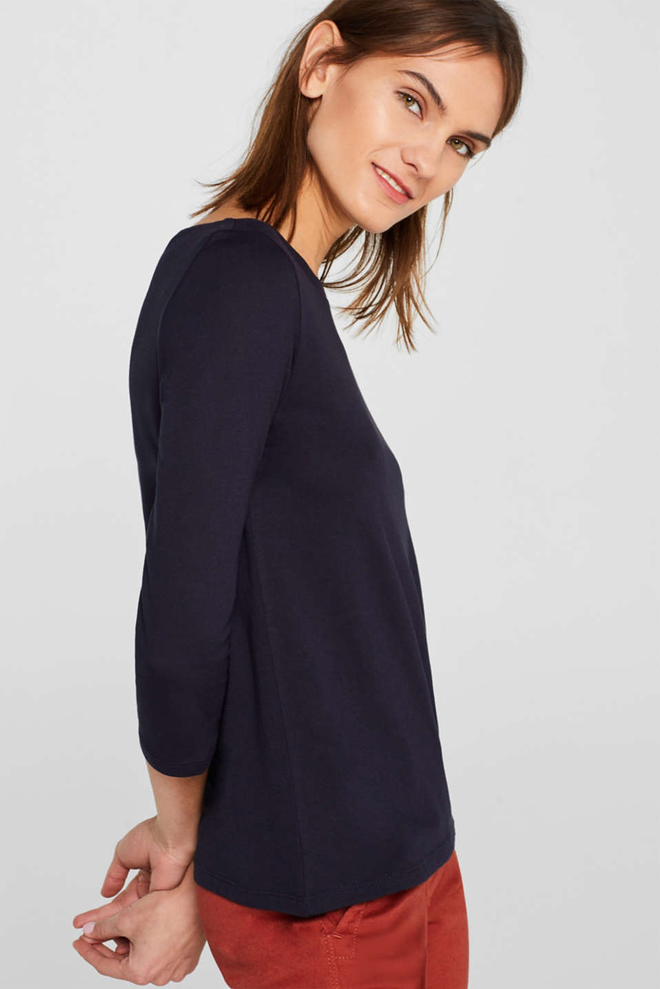 Two-pack: Long sleeve top with organic cotton, NAVY, detail image number 4
