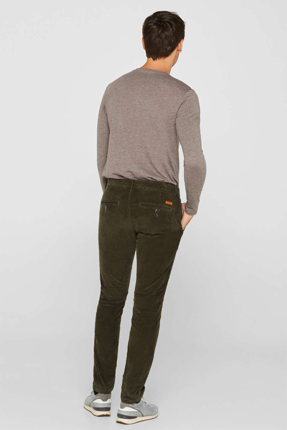 Corduroy trousers made of 100% cotton, OLIVE, detail image number 3