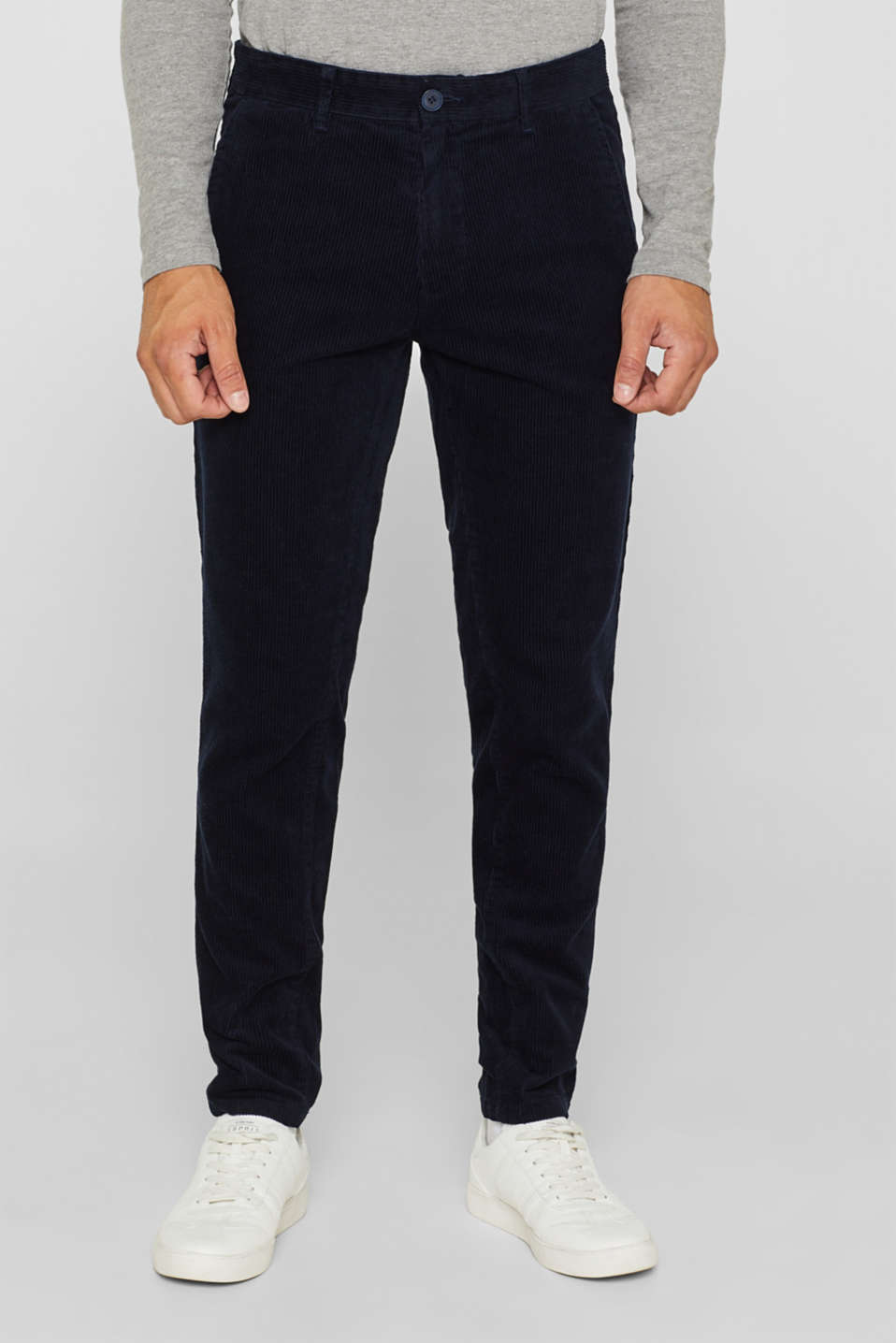 Corduroy trousers made of 100% cotton, NAVY, detail image number 0