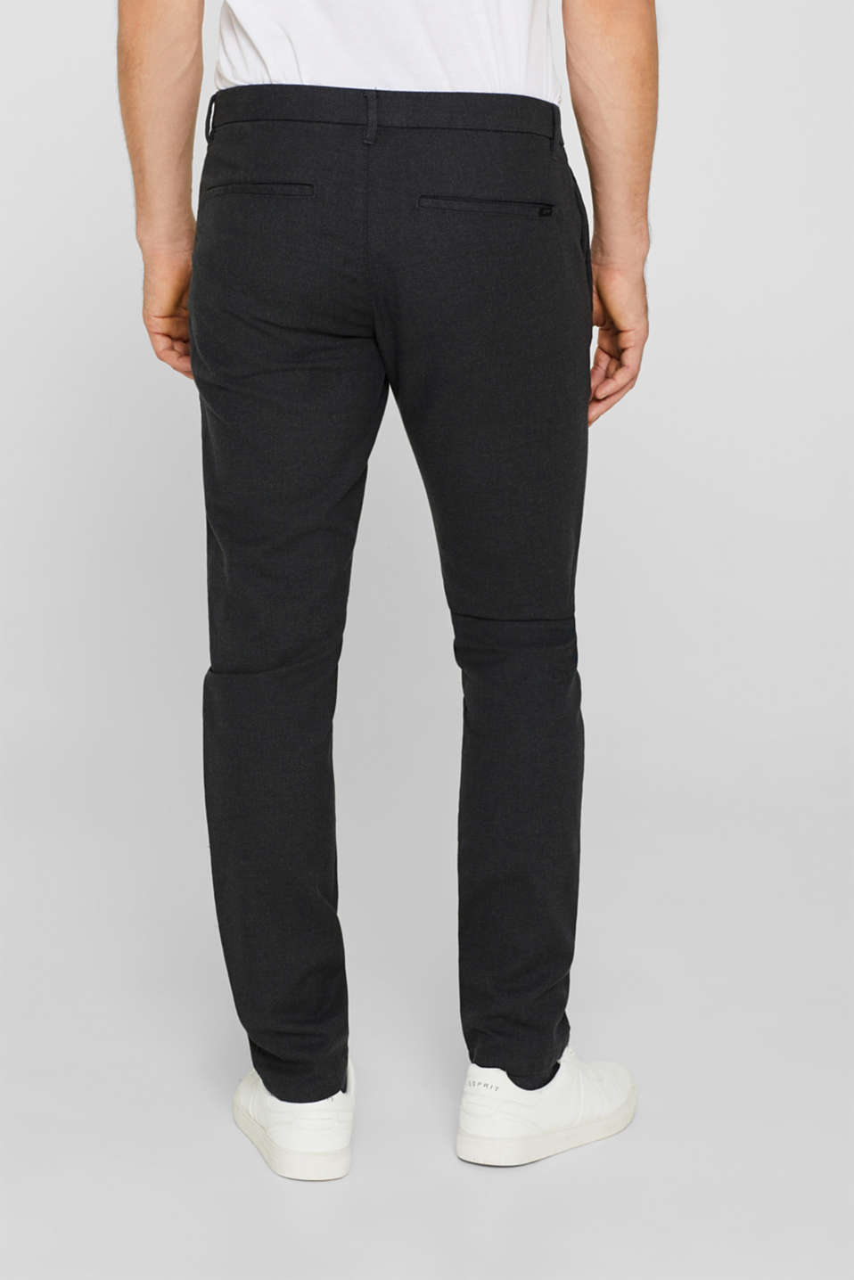 Stretch trousers with a checked texture, BLACK, detail image number 3