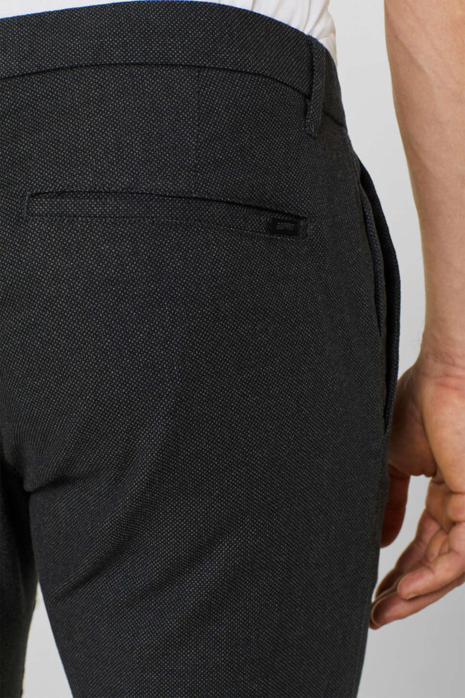 Stretch trousers with a checked texture, BLACK, detail image number 2