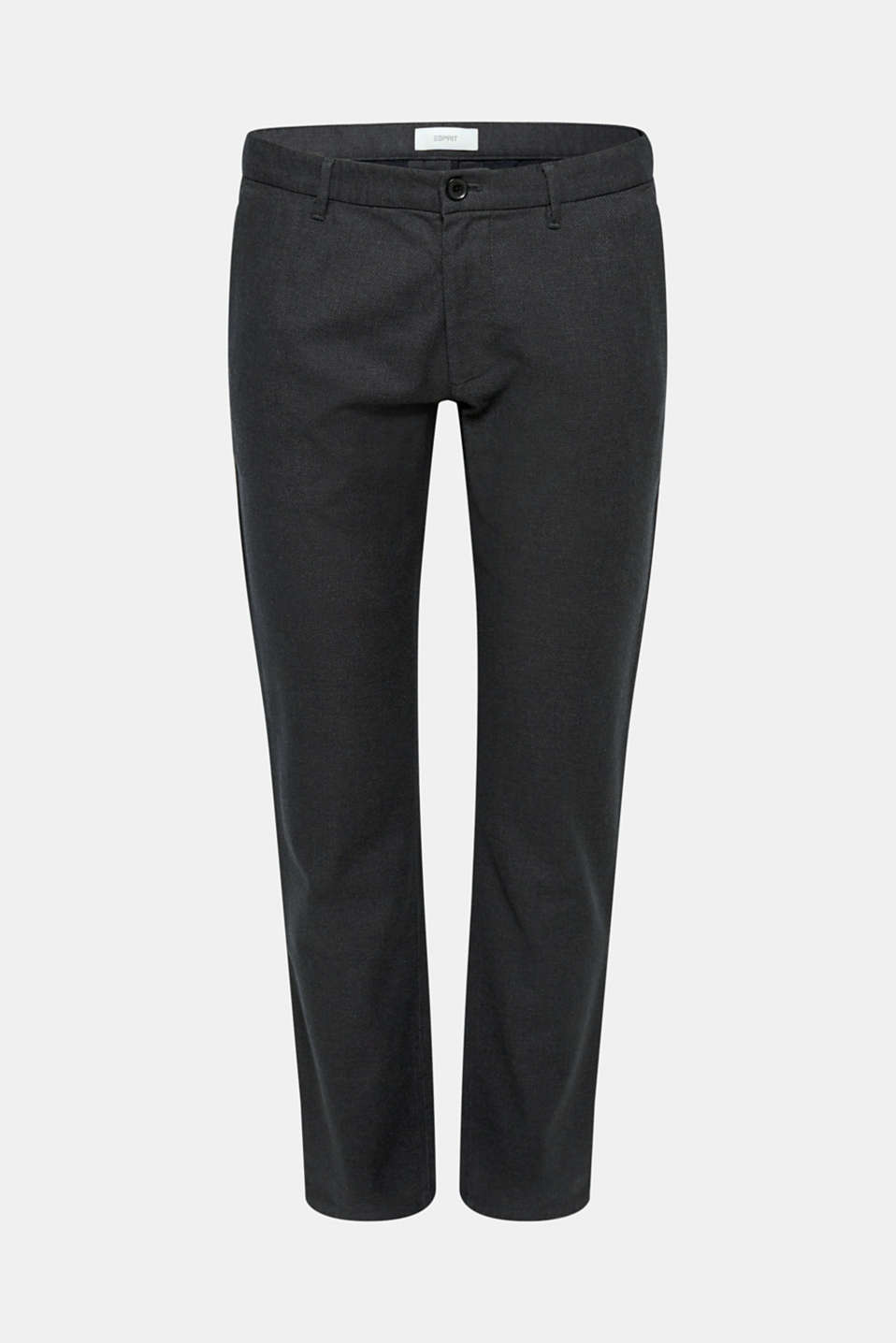 Stretch trousers with a checked texture, BLACK, detail image number 5