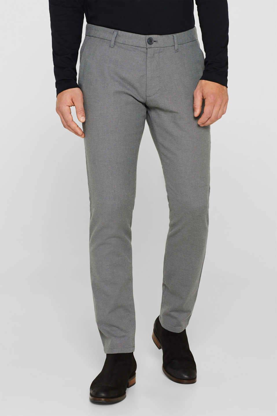 Stretch trousers with a checked texture