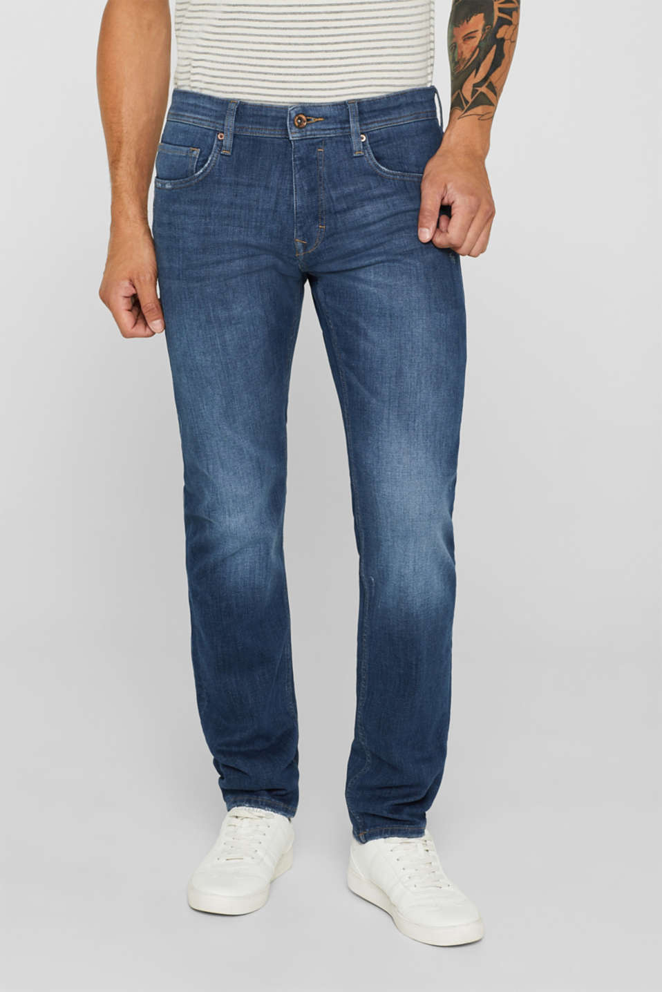 Esprit - Superstretch-Denim mit Used-Effekten