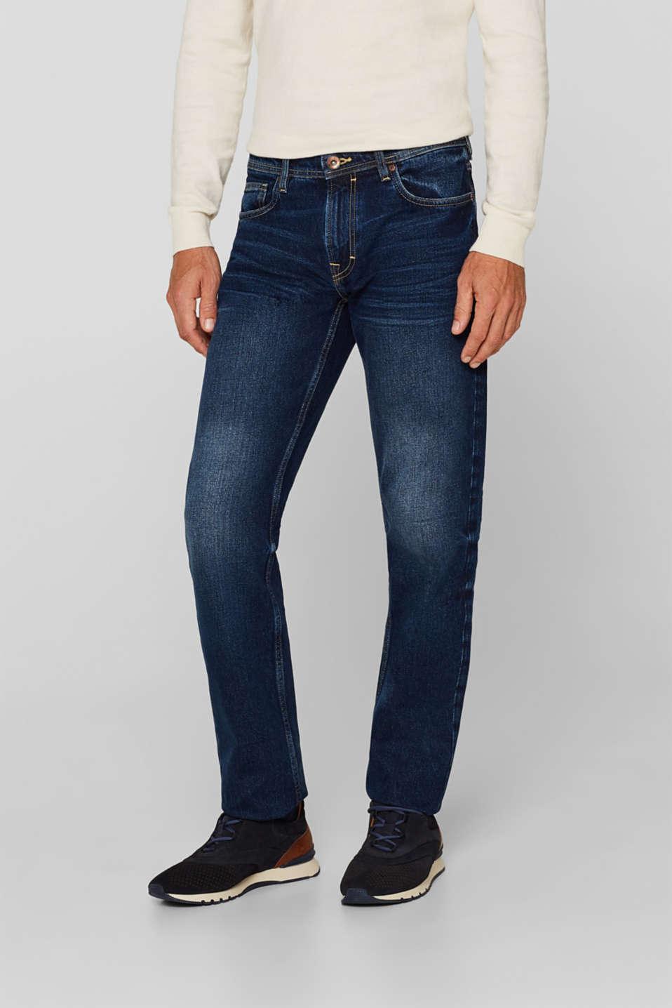 Stone wash jeans, 100% cotton, BLUE DARK WASH, detail image number 0