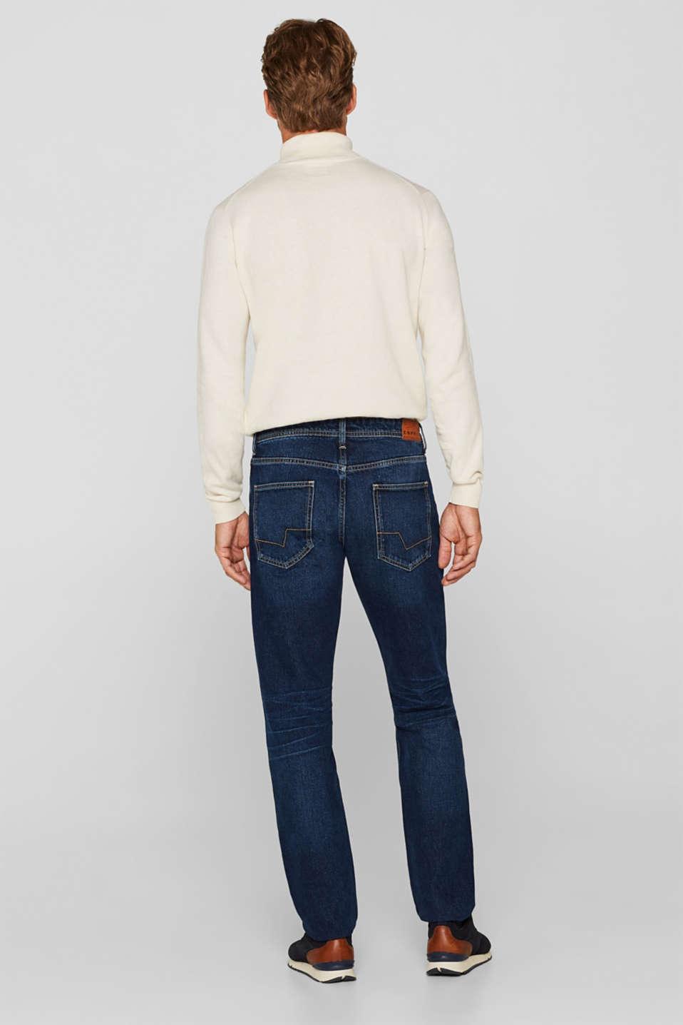 Stone wash jeans, 100% cotton, BLUE DARK WASH, detail image number 1