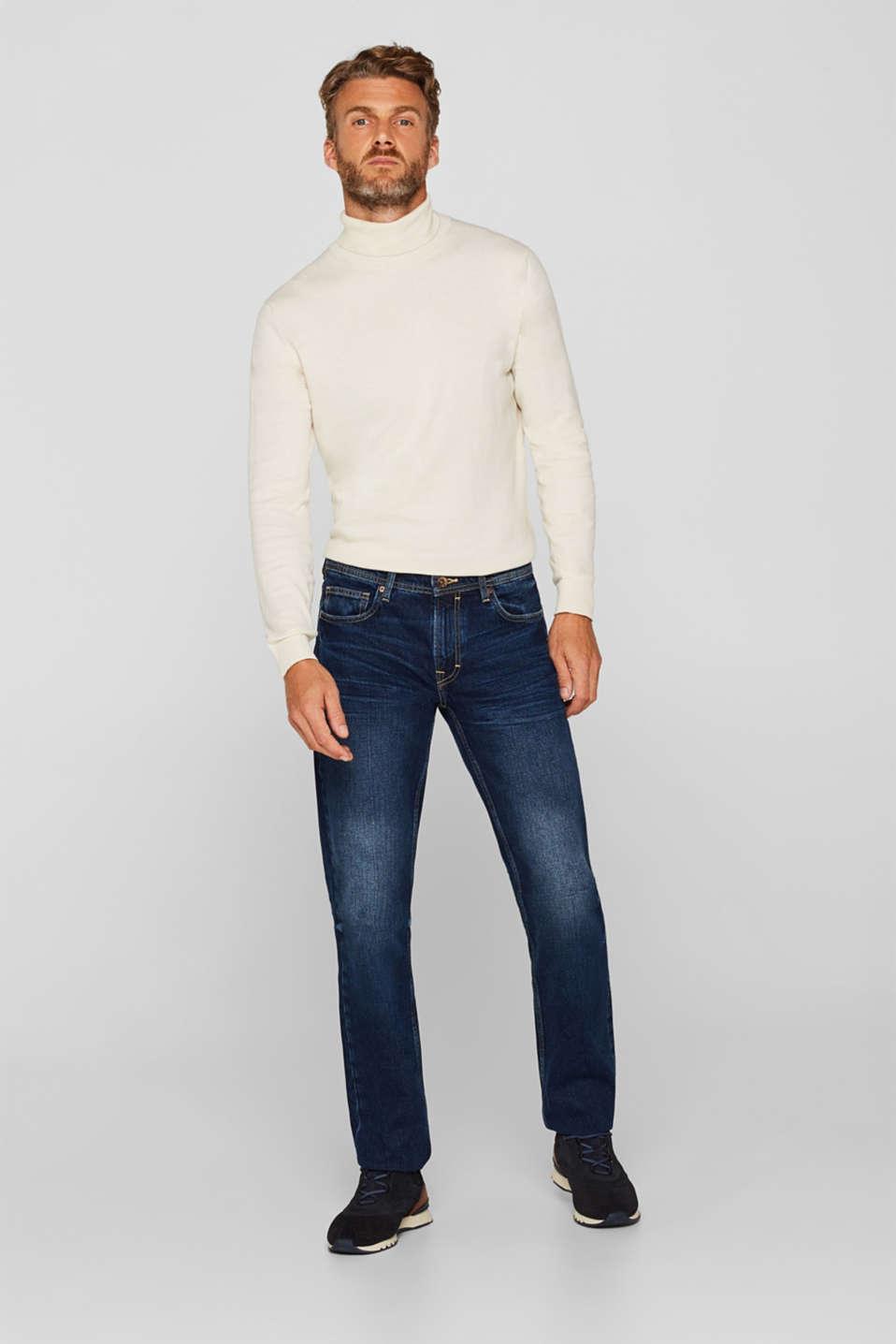 Stone wash jeans, 100% cotton, BLUE DARK WASH, detail image number 4