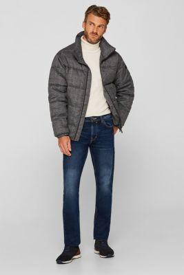 Stone wash jeans, 100% cotton, BLUE DARK WASH, detail