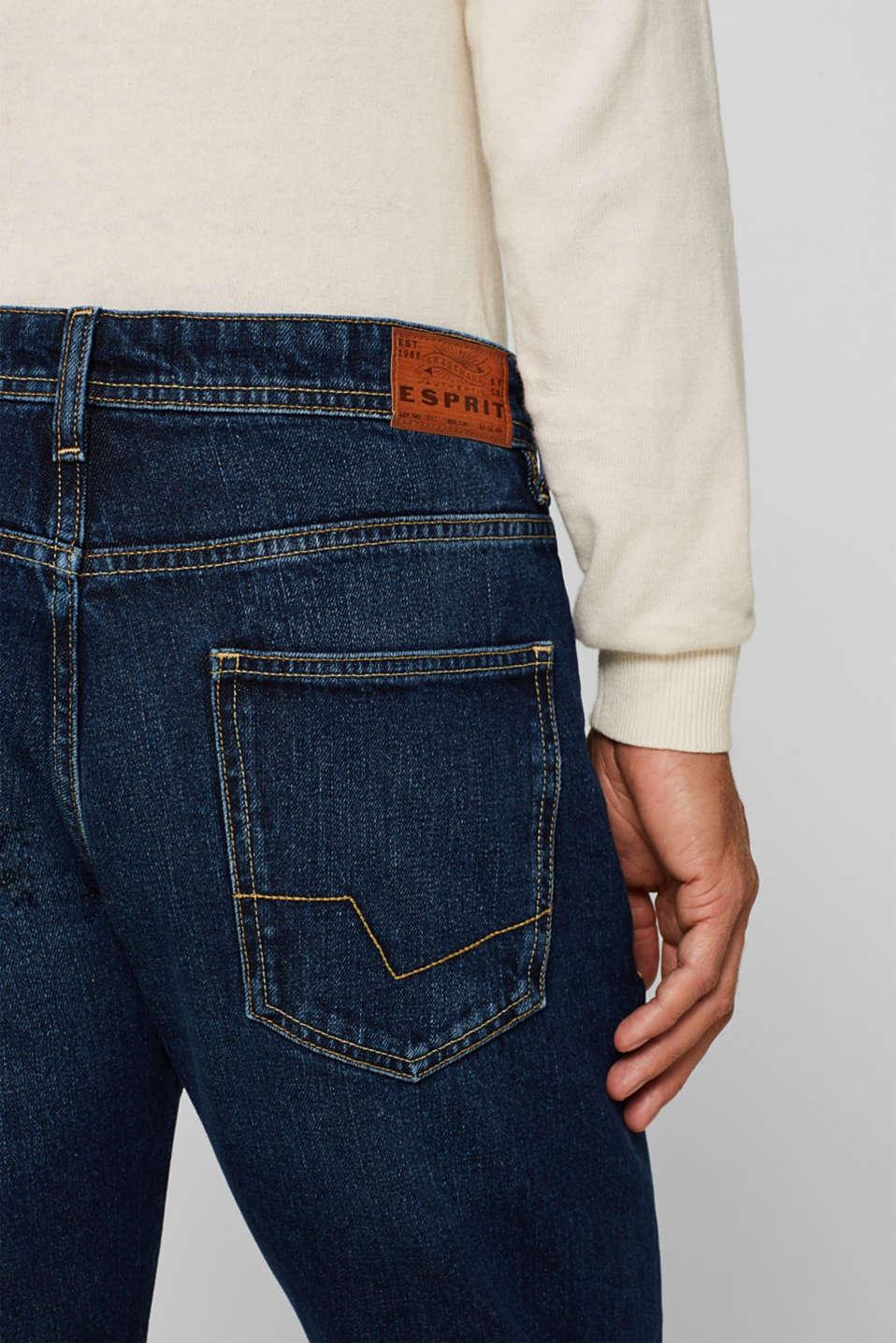 Stone wash jeans, 100% cotton, BLUE DARK WASH, detail image number 3