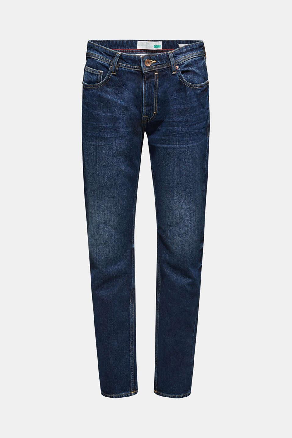 Stone wash jeans, 100% cotton, BLUE DARK WASH, detail image number 6