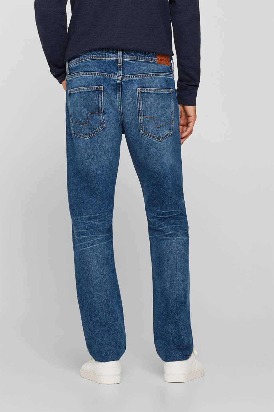 Stone wash jeans, 100% cotton, BLUE MEDIUM WASH, detail image number 1