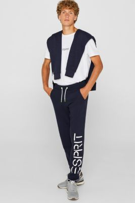 Tracksuit bottoms with a logo print, 100% cotton, NAVY, detail
