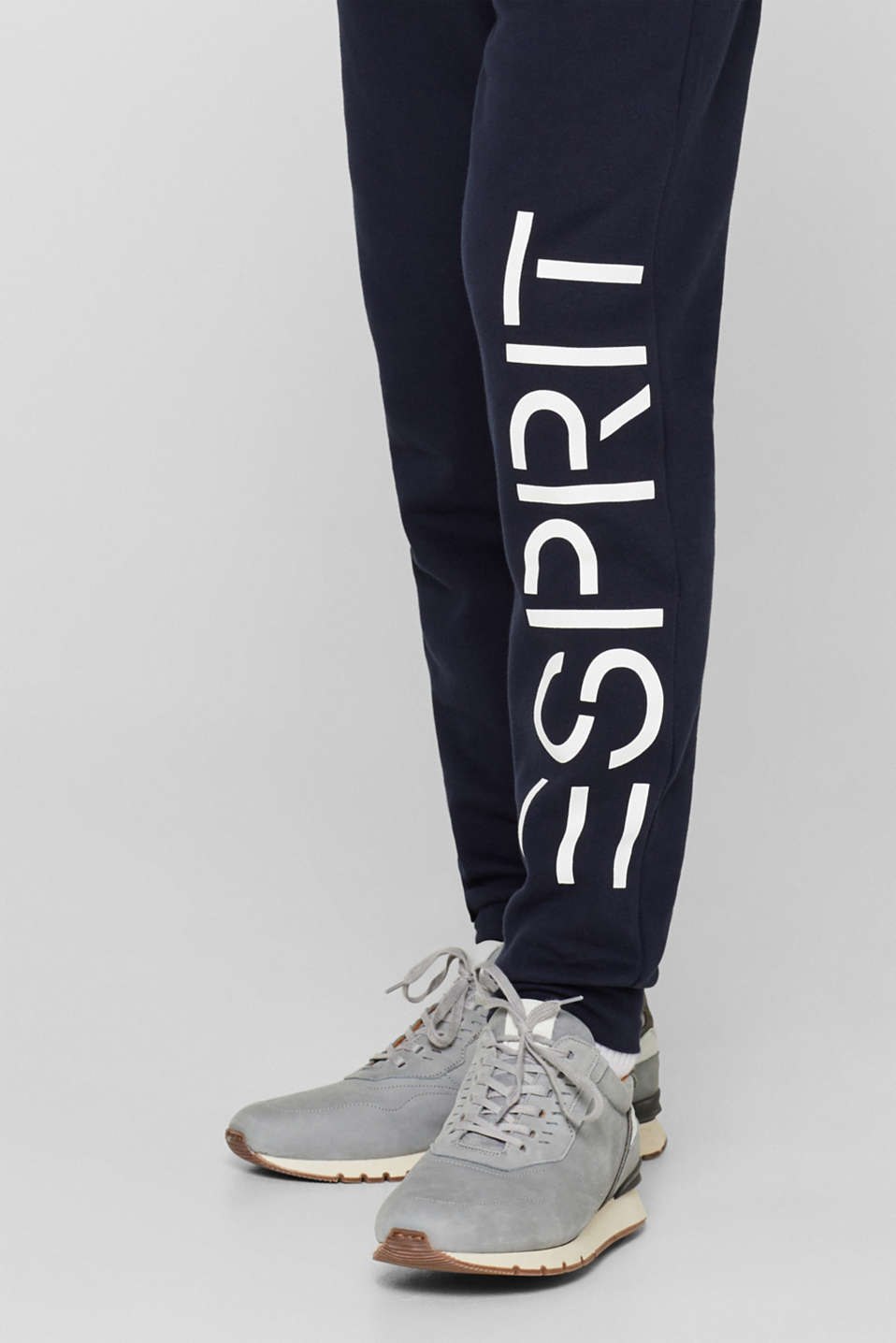 Tracksuit bottoms with a logo print, 100% cotton, NAVY, detail image number 3
