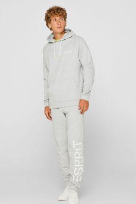 Sweatshirt fabric tracksuit bottoms with a logo print, MEDIUM GREY, detail