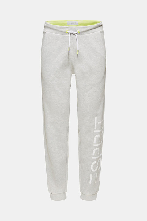 Sweatshirt fabric tracksuit bottoms with a logo print