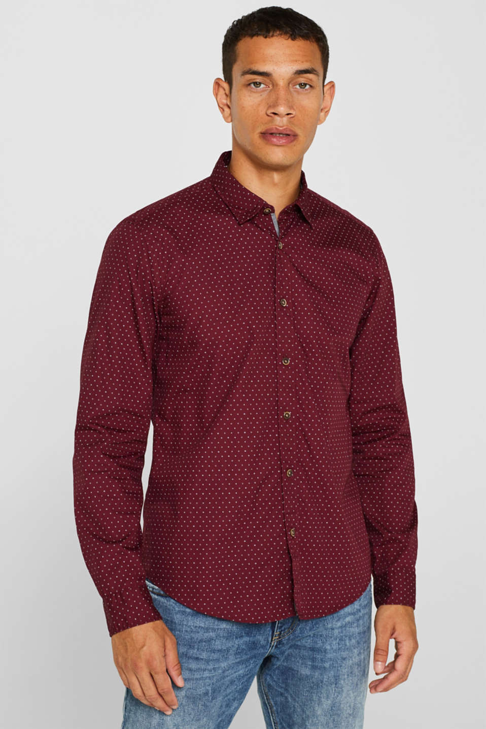 Esprit - Shirt with polka dots, 100% cotton