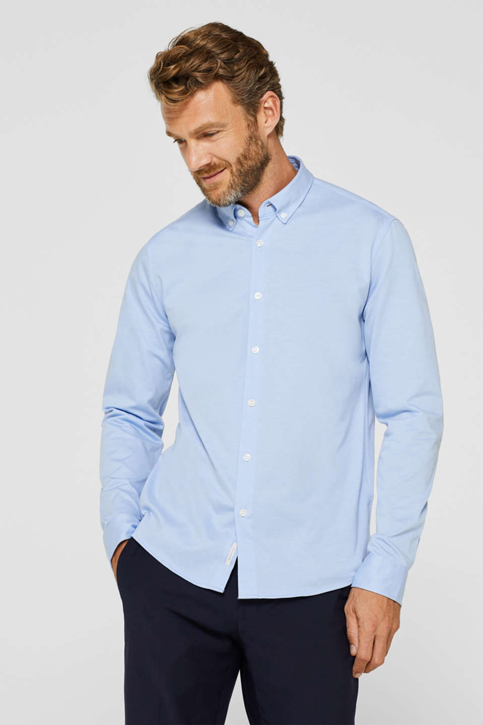 Esprit - Camicia button-down in jersey, 100% cotone