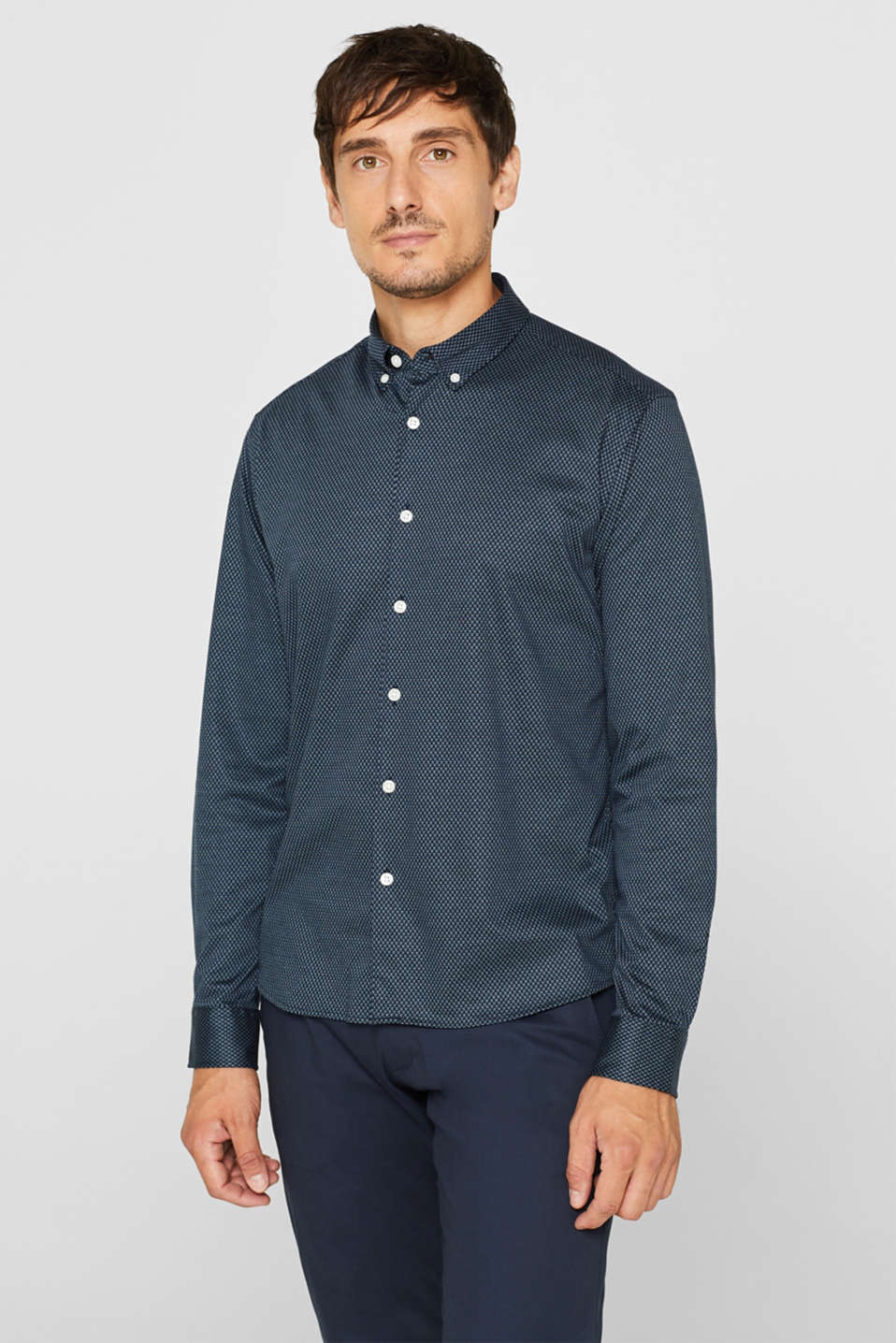 Esprit - Shirt with a diamond pattern, 100% cotton