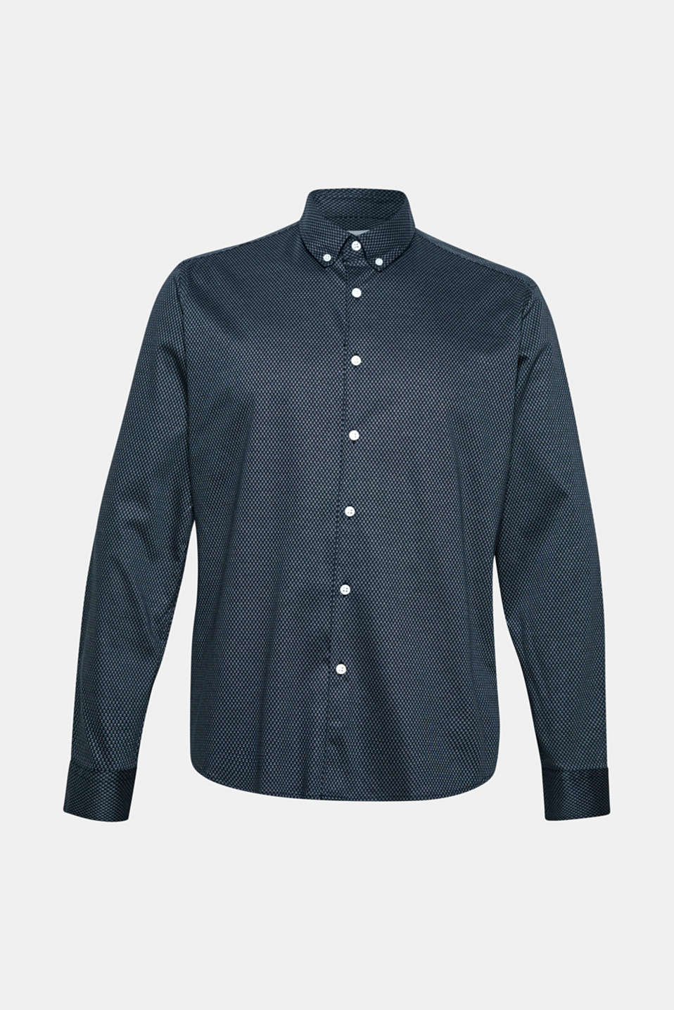 Shirt with a diamond pattern, 100% cotton, NAVY, detail image number 7
