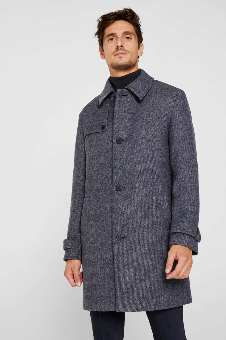 Esprit - Wool blend: Coat with wide collar