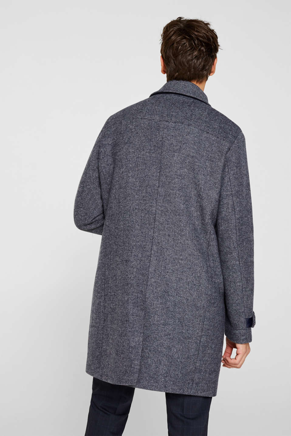Wool blend: Coat with wide collar, DARK BLUE, detail image number 3