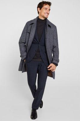 Wool blend: Coat with wide collar, DARK BLUE, detail