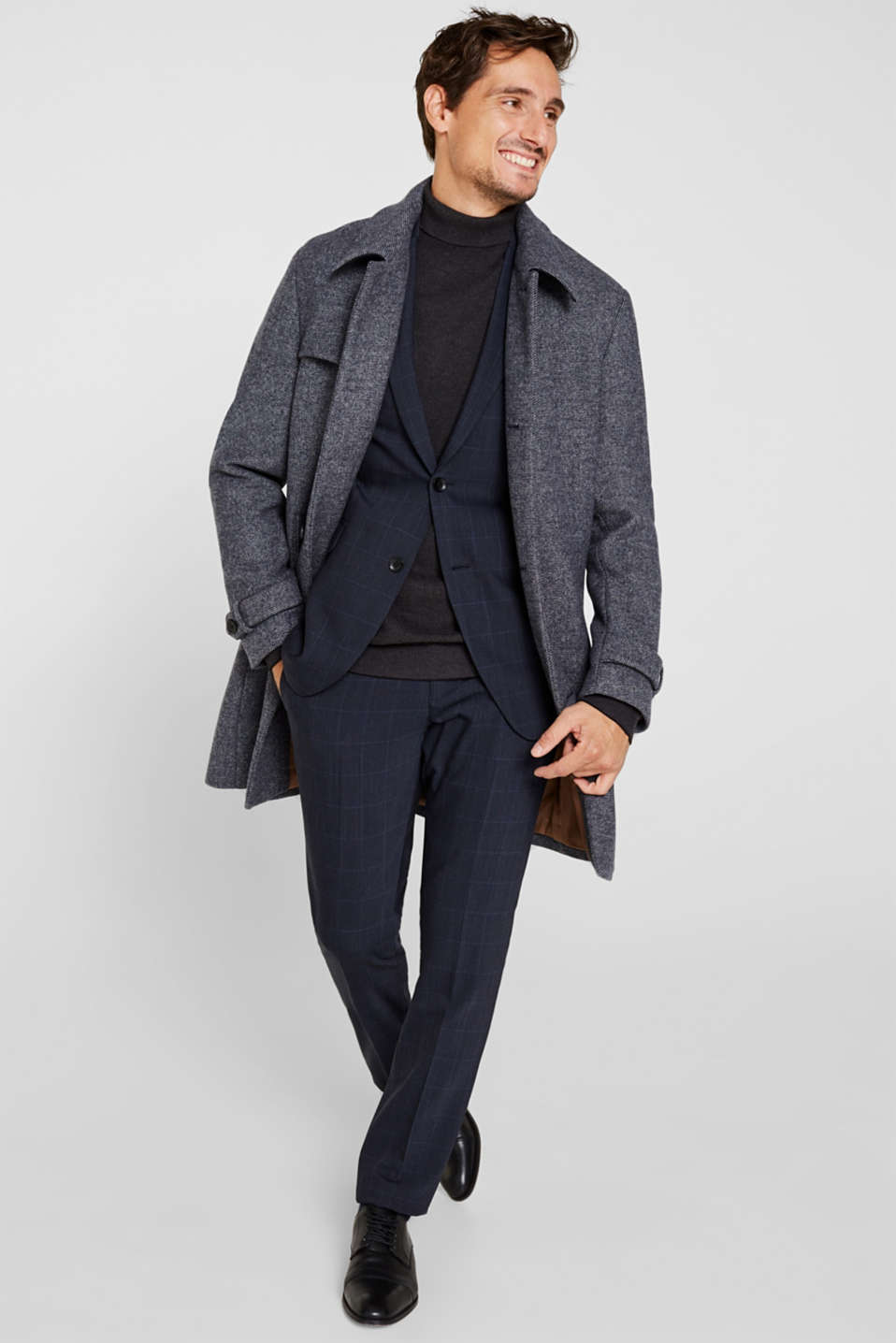 Wool blend: Coat with wide collar, DARK BLUE, detail image number 1