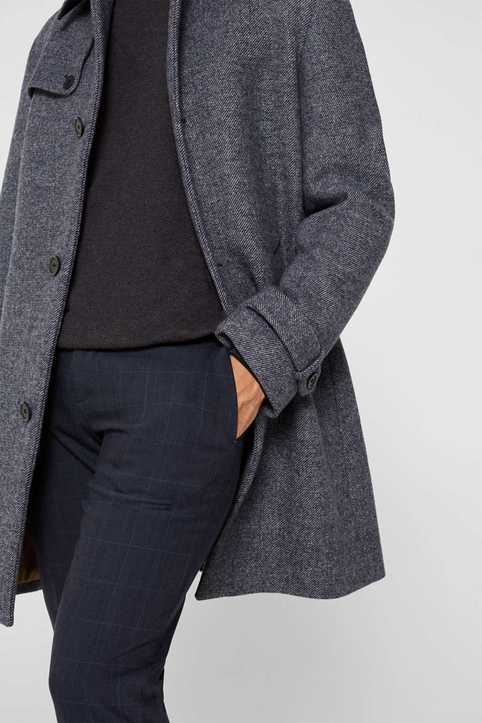 Wool blend: Coat with wide collar, DARK BLUE, detail image number 2
