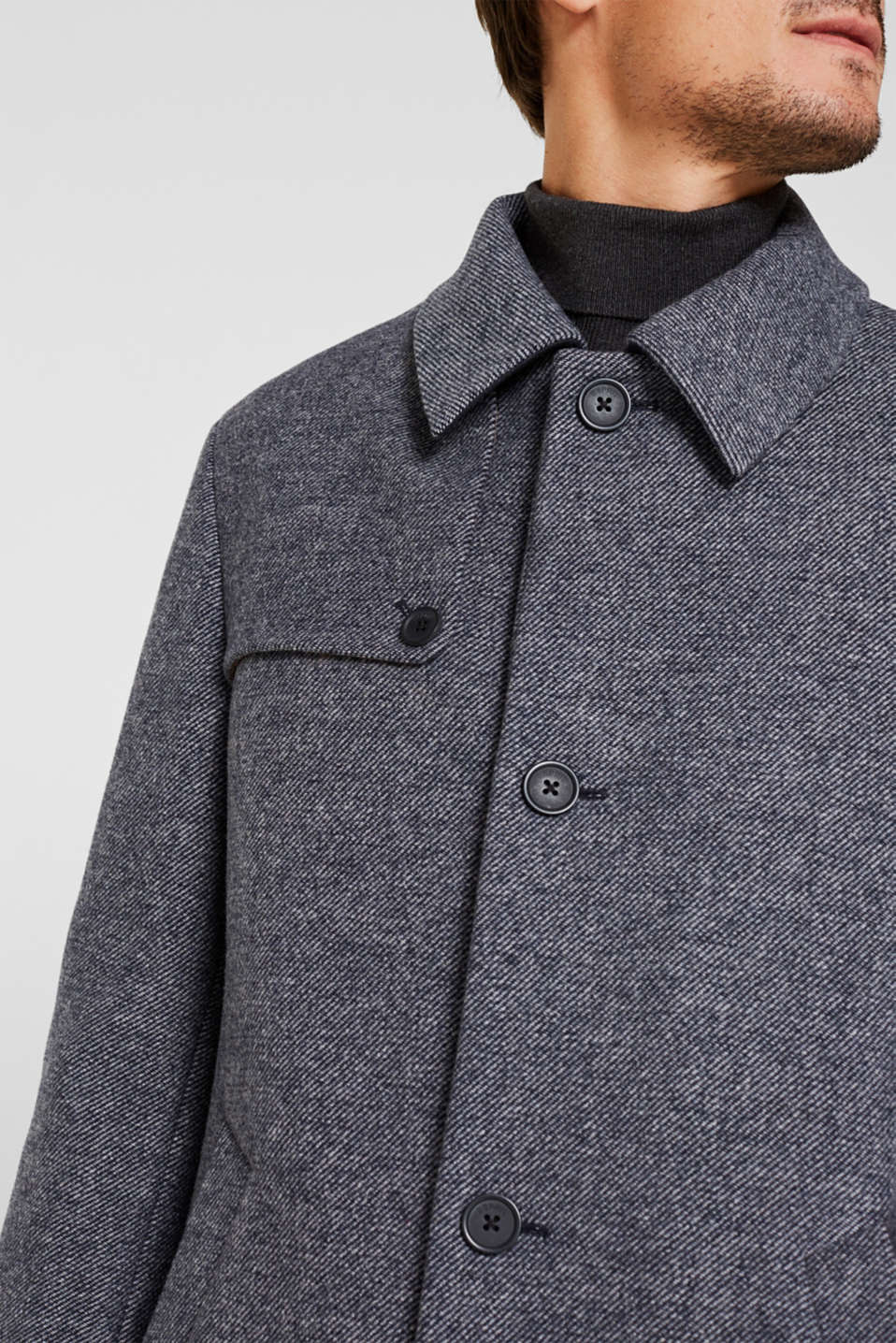 Wool blend: Coat with wide collar, DARK BLUE, detail image number 5