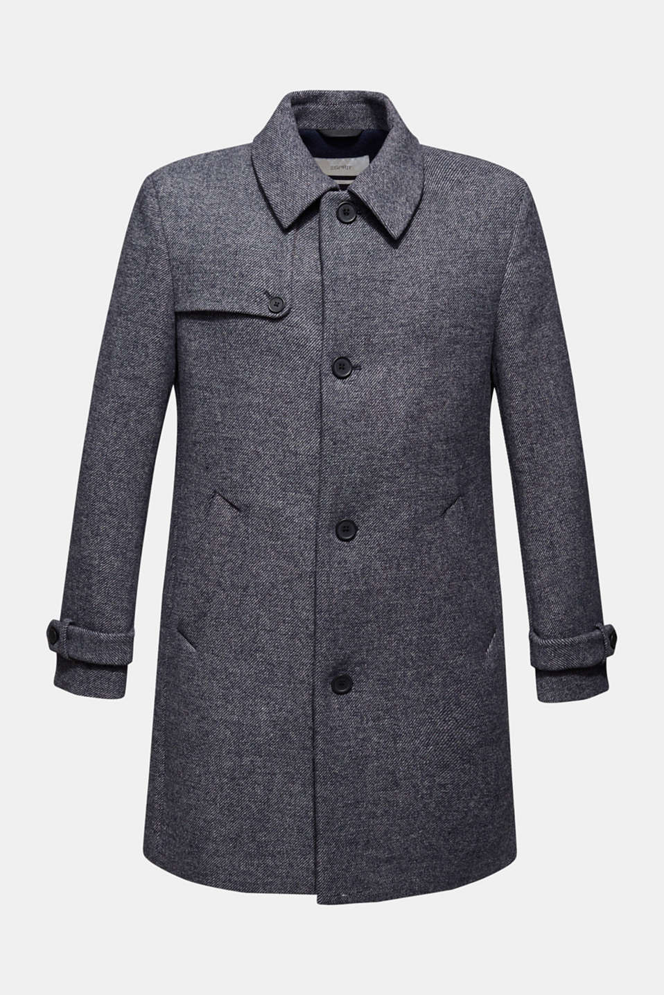 Wool blend: Coat with wide collar, DARK BLUE, detail image number 6