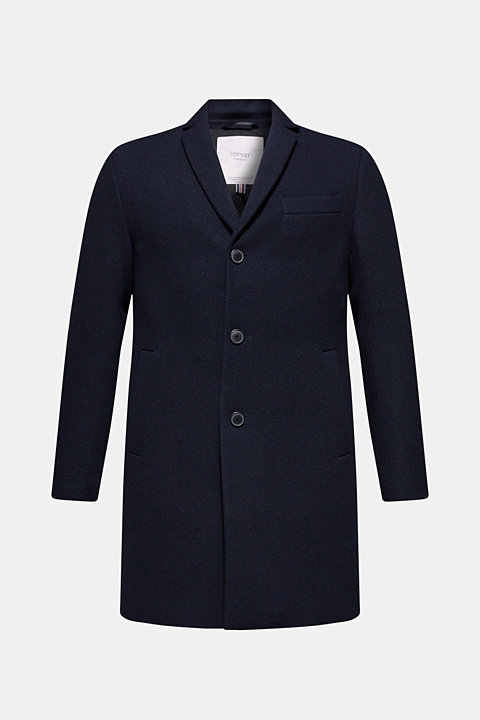 Padded, textured coat with wool