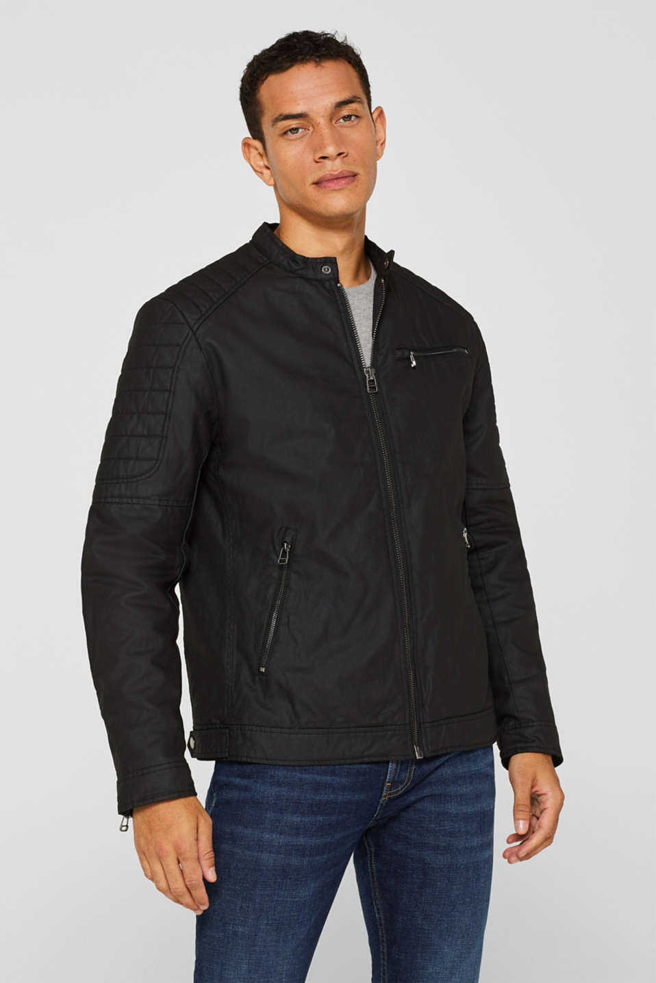 Esprit - Coated biker jacket with padding