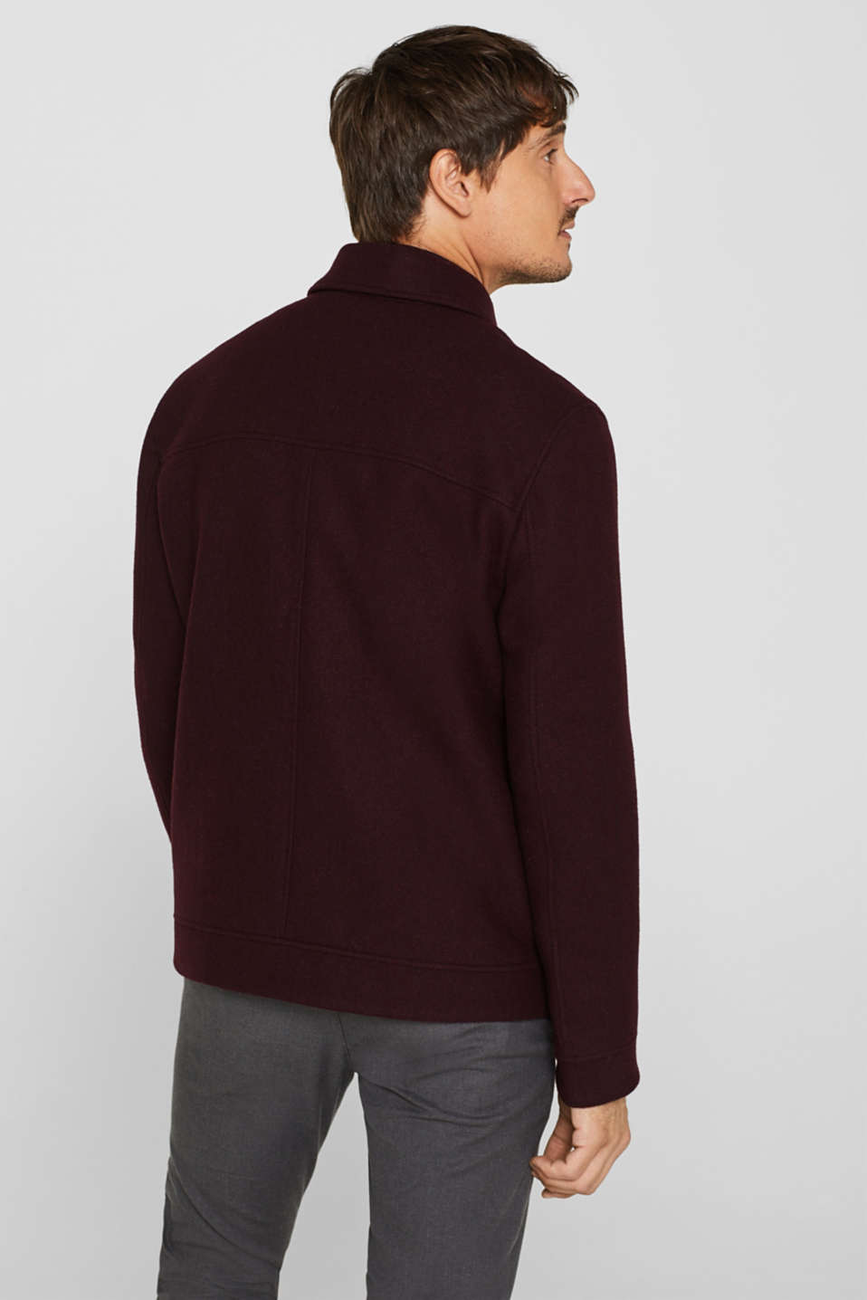 Wool blend: Bomber jacket with a shirt collar, BORDEAUX RED, detail image number 3