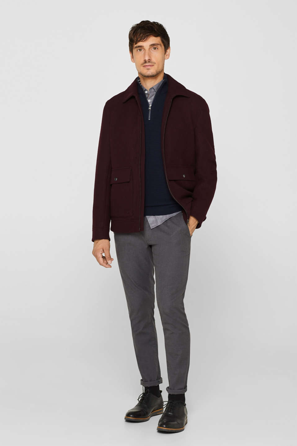 Wool blend: Bomber jacket with a shirt collar, BORDEAUX RED, detail image number 1