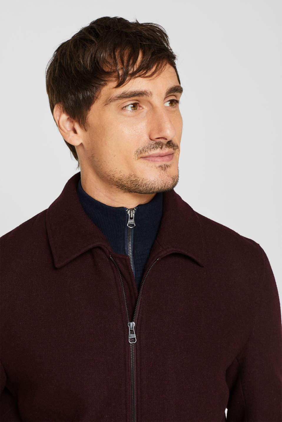 Wool blend: Bomber jacket with a shirt collar, BORDEAUX RED, detail image number 5
