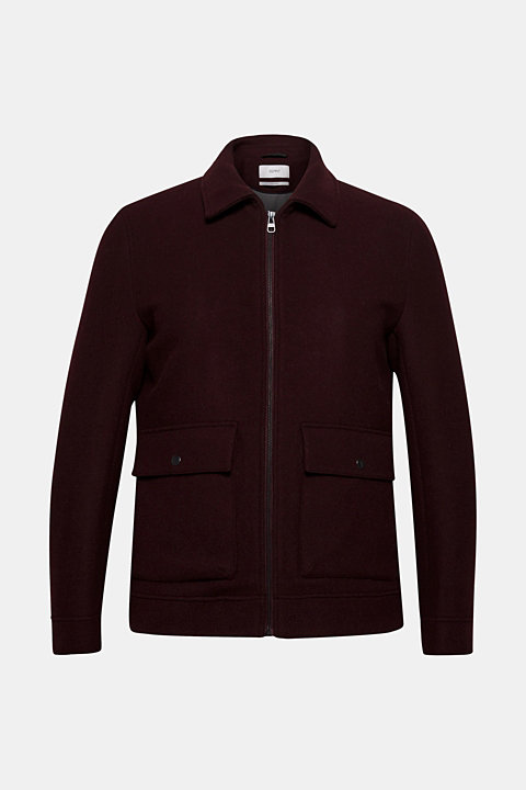 Wool blend: Bomber jacket with a shirt collar