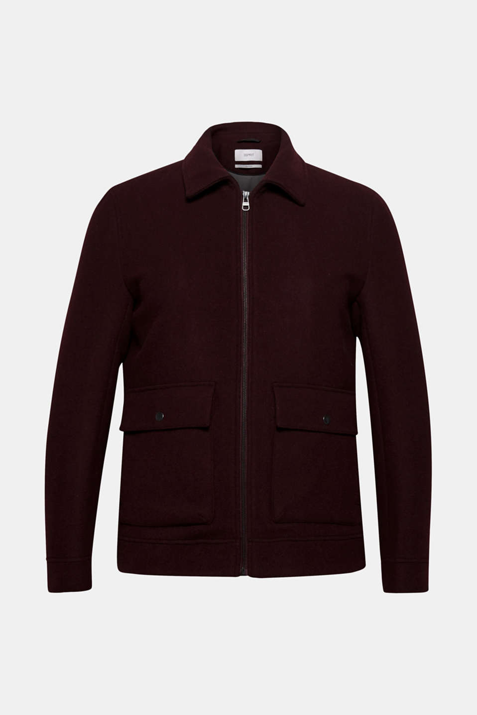 Wool blend: Bomber jacket with a shirt collar, BORDEAUX RED, detail image number 7