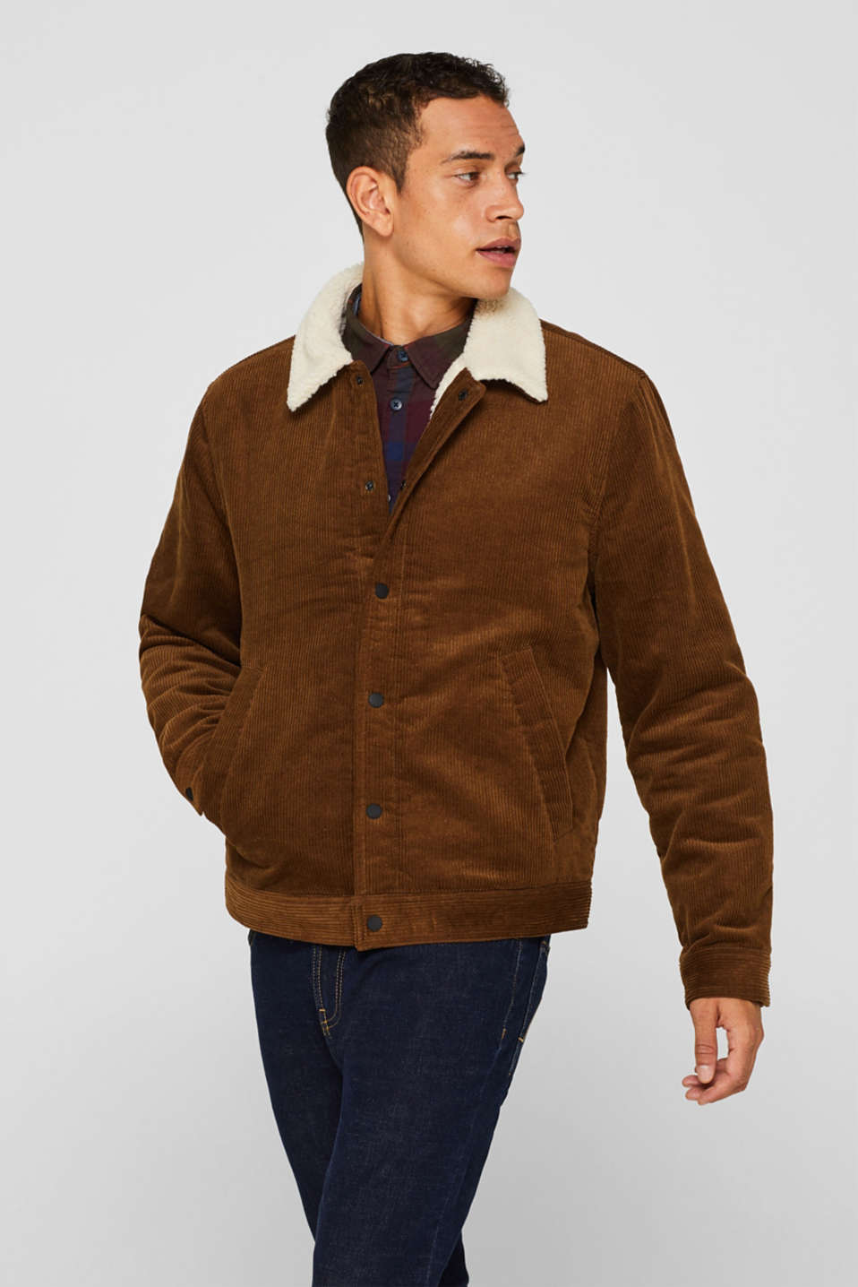 Corduroy jacket with faux shearling lining, CAMEL, detail image number 1