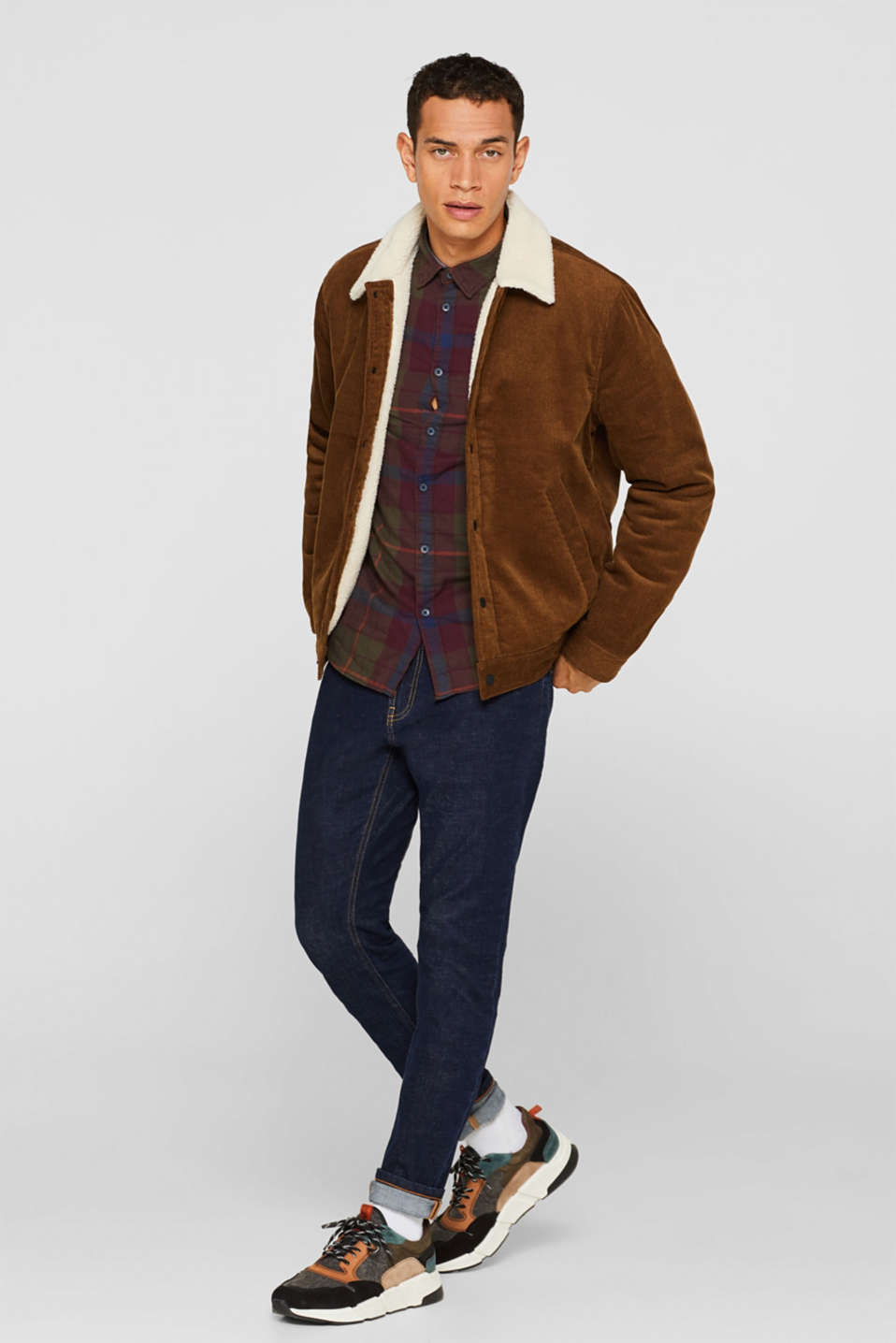 Corduroy jacket with faux shearling lining