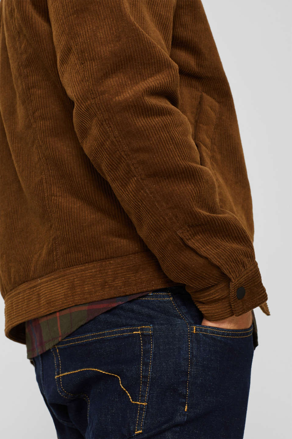 Corduroy jacket with faux shearling lining, CAMEL, detail image number 2