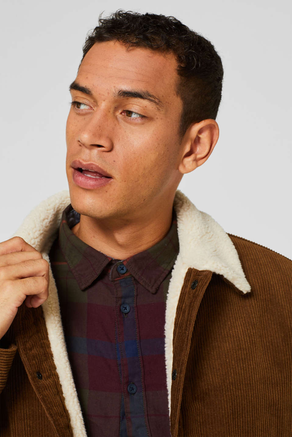 Corduroy jacket with faux shearling lining, CAMEL, detail image number 5
