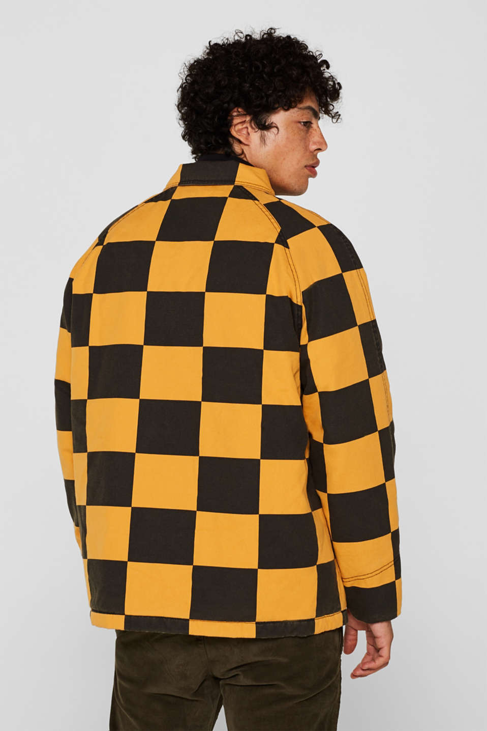 Padded jacket with a checkerboard pattern, BLACK, detail image number 3