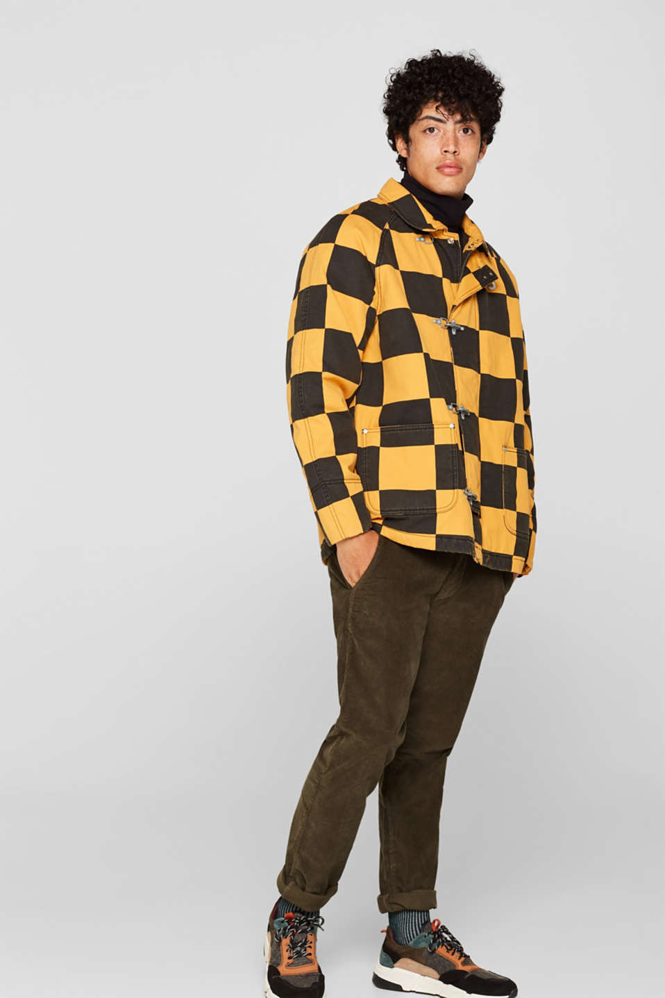 Padded jacket with a checkerboard pattern, BLACK, detail image number 1