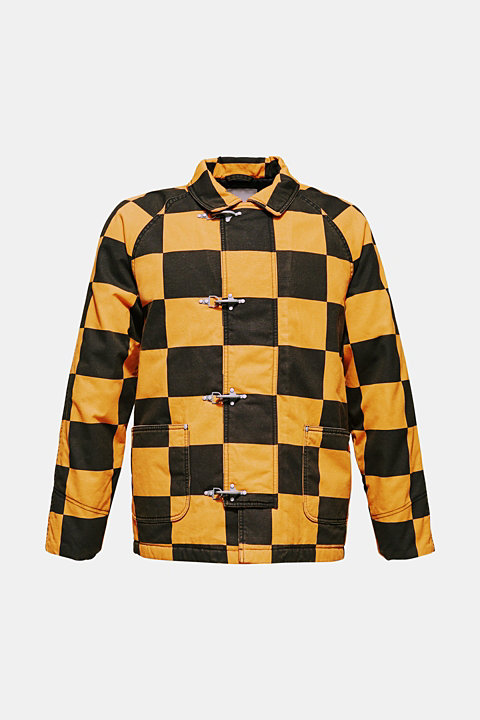 Padded jacket with a checkerboard pattern
