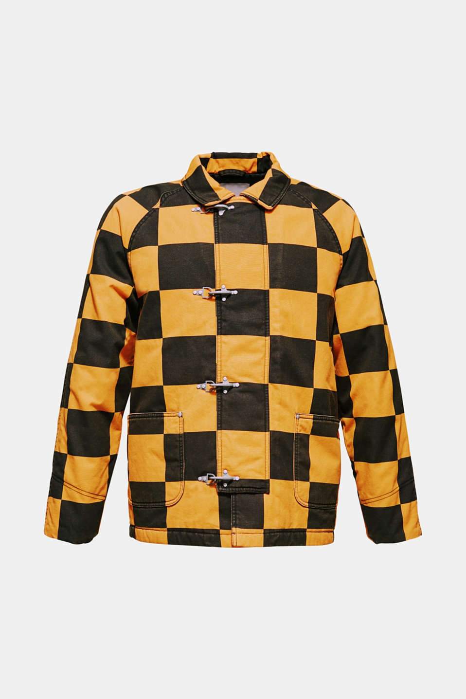 Padded jacket with a checkerboard pattern, BLACK, detail image number 6