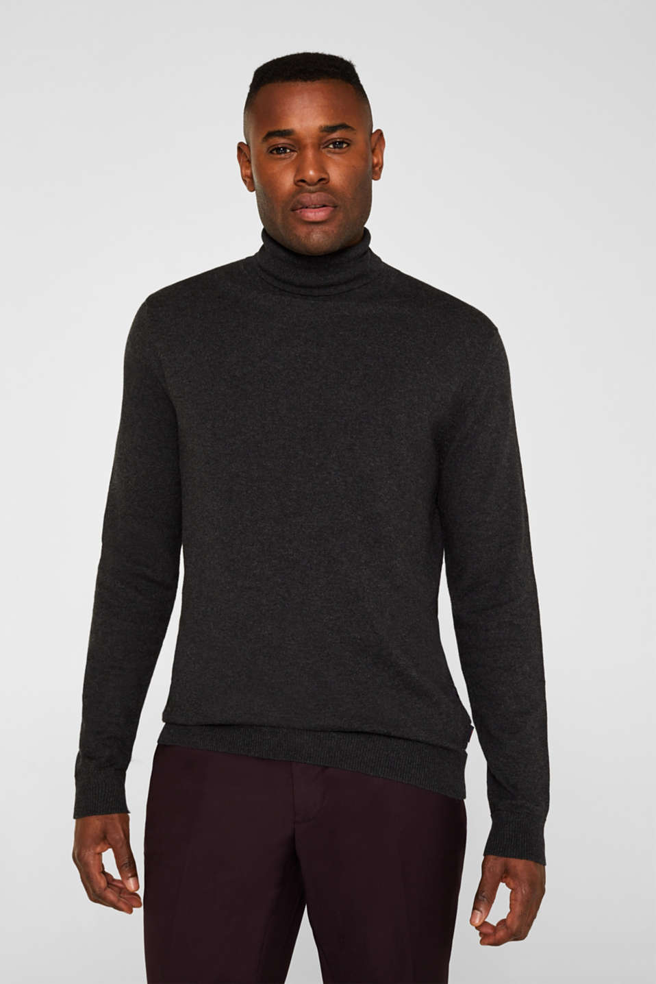 With cashmere: fine knit polo neck jumper, ANTHRACITE, detail image number 0