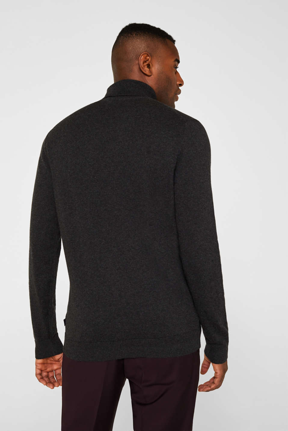 With cashmere: fine knit polo neck jumper, ANTHRACITE, detail image number 3