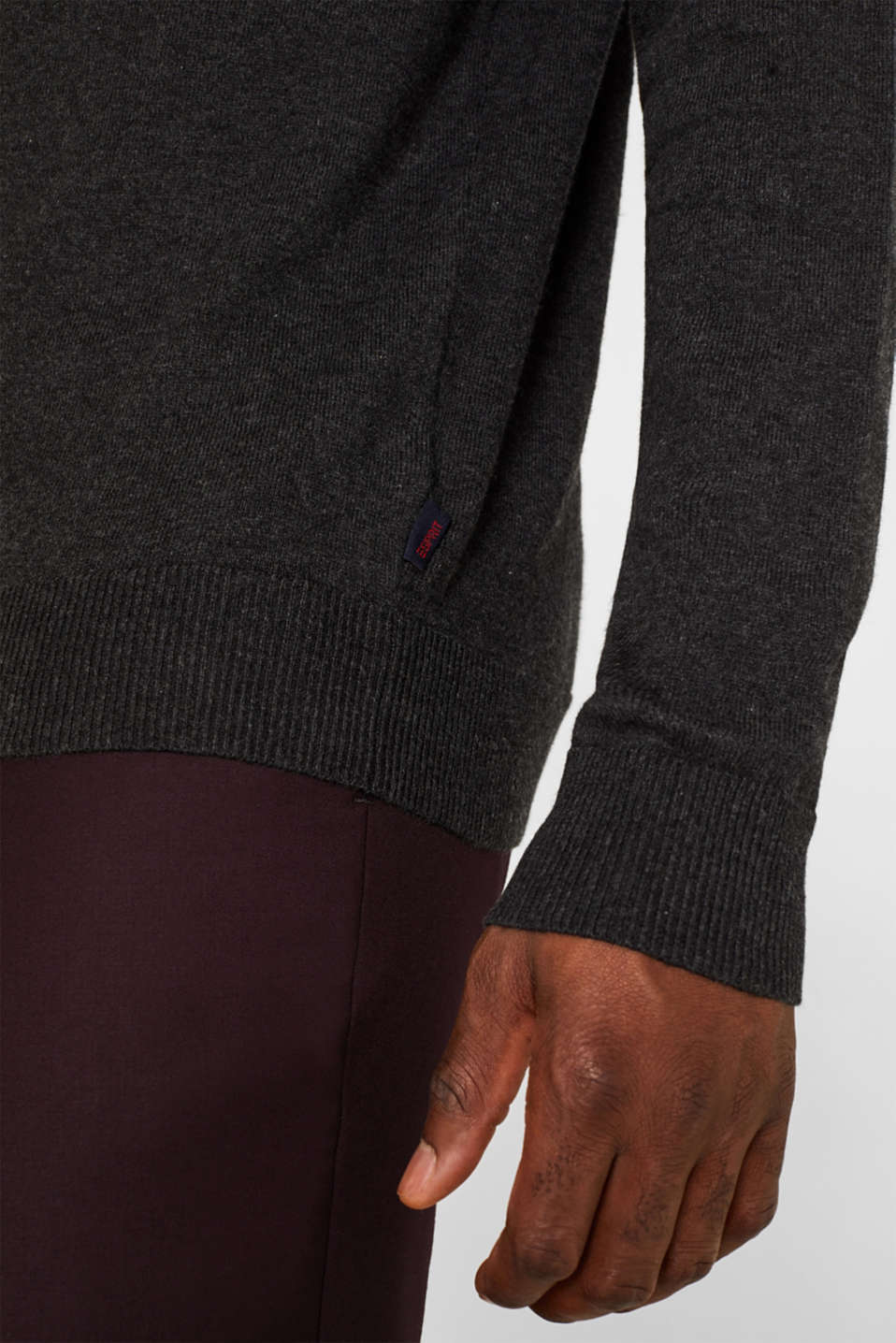 With cashmere: fine knit polo neck jumper, ANTHRACITE, detail image number 2