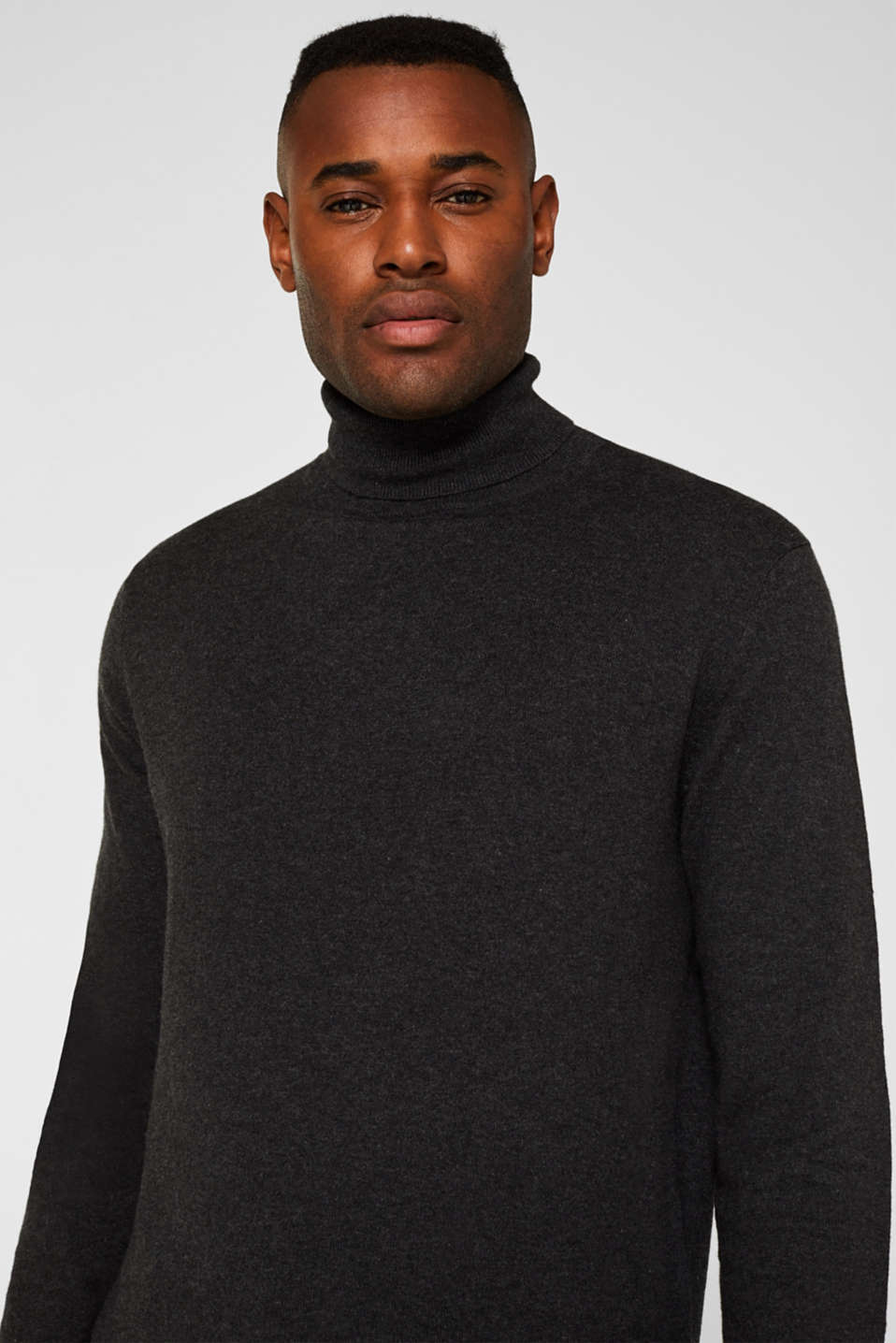 With cashmere: fine knit polo neck jumper, ANTHRACITE, detail image number 5