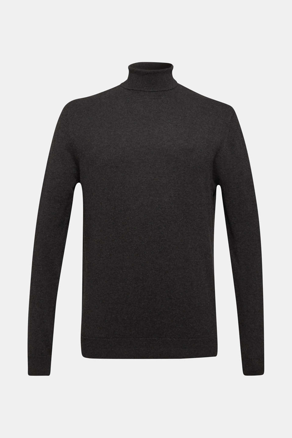 With cashmere: fine knit polo neck jumper, ANTHRACITE, detail image number 6
